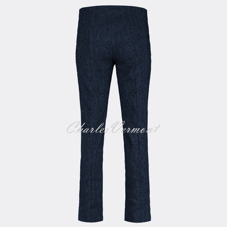 Robell Marie Full Length Trouser 51412-54145-69 (Navy Jacquard)