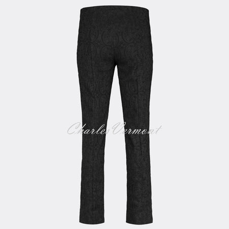 Robell Marie Full Length Trouser 51412-54145-90 (Black Jacquard)