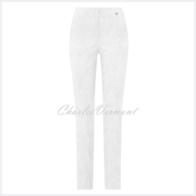 Robell Marie – Full Length Trouser 51412-54401-10 (White Jacquard)