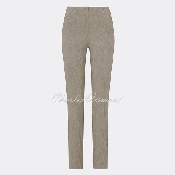 Robell Marie - Full Length Trouser 51412-54401-13 (Light Taupe Jacquard)