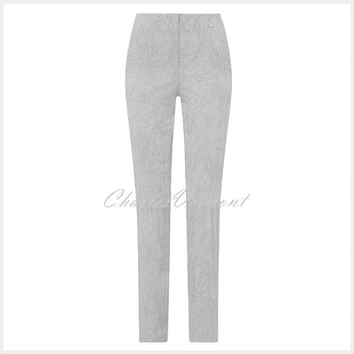Robell Marie – Full Length Trouser 51412-54401-92 (Light Grey Jacquard)