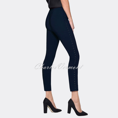 Robell Rose 09 – 7/8 Cropped Super Slim Trouser Silver Stud Detail 51435-5499-69 (Navy)