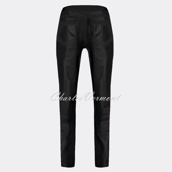 Robell Rose Leather Effect Full Length Trouser 51462-54344-90 (Black Faux Leather)