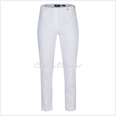 Robell Bella 09 - 7/8 Cropped Trouser 51560-54401-10 (White Jacquard)