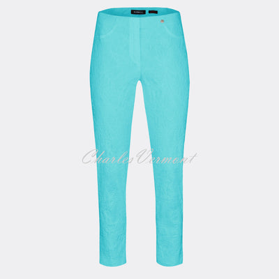 Robell Bella 09 – 7/8 Cropped Trouser 51560-54401-75 (Turquoise Jacquard)