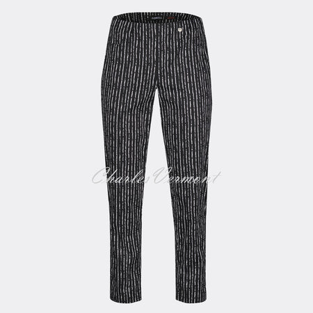 Robell Bella 09 - 7/8 Cropped Trouser 51560-54425-90 (Abstract Pinstripe)