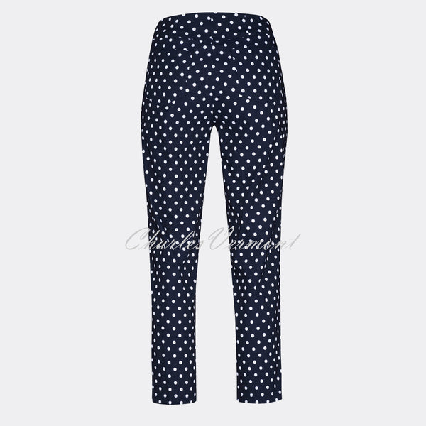 Robell Bella 09 - 7/8 Cropped Slim Fit Trouser 51560-54570-69 (Navy/White)