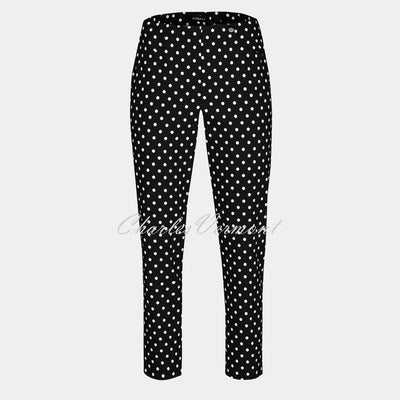 Robell Bella 09 - 7/8 Cropped Slim Fit Trouser 51560-54570-90 (Black/White)