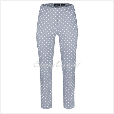 Robell Bella 09 – 7/8 Cropped Trouser Polka Dot 51560-54570-91 (Silver Grey / White)