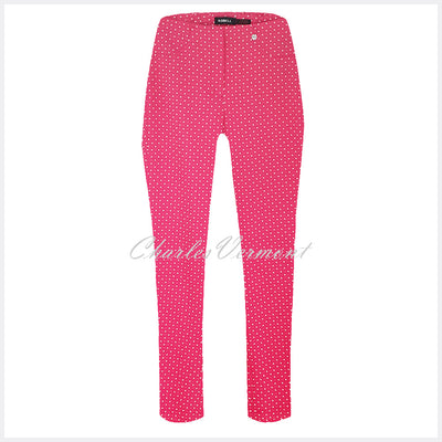 Robell Bella 09 – 7/8 Cropped Trouser 'Square Pattern '51560-54854-43 – (Pink / White)