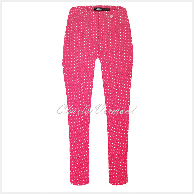 Robell Bella 09 – 7/8 Cropped Trouser 'Square Pattern' 51560-54854-43 – (Pink / White)