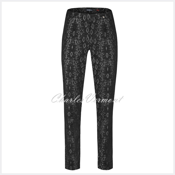 Robell Marie Full Length Trouser 51570-54757-90 (Black/Silver)