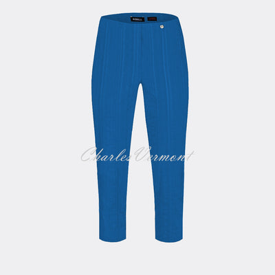 Robell Marie 07 Seersucker Capri Trouser 51576-54554-67 (Royal Blue)