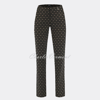 Robell Marie Full Length Trouser 51593-54964-19 Geometric Print (Taupe / Black)