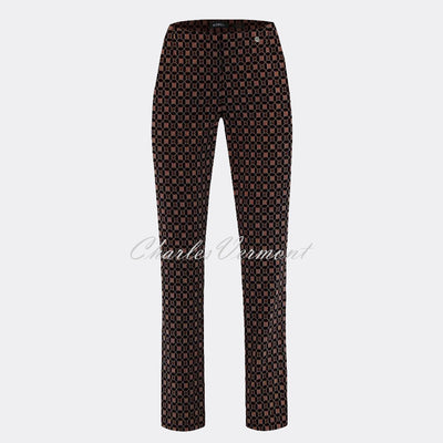 Robell Marie Full Length Trouser 51593-54964-39 Geometric Print (Brown / Black)