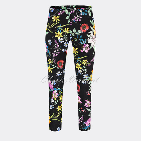 Robell Rose 09- 7/8 Cropped Super Slim Trouser 51622-54731-90 (Black/Multi)