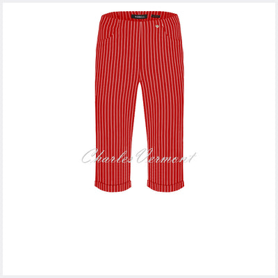 Robell Bella 05 Pinstripe Bermuda Short 51625-54567-41 (Red)