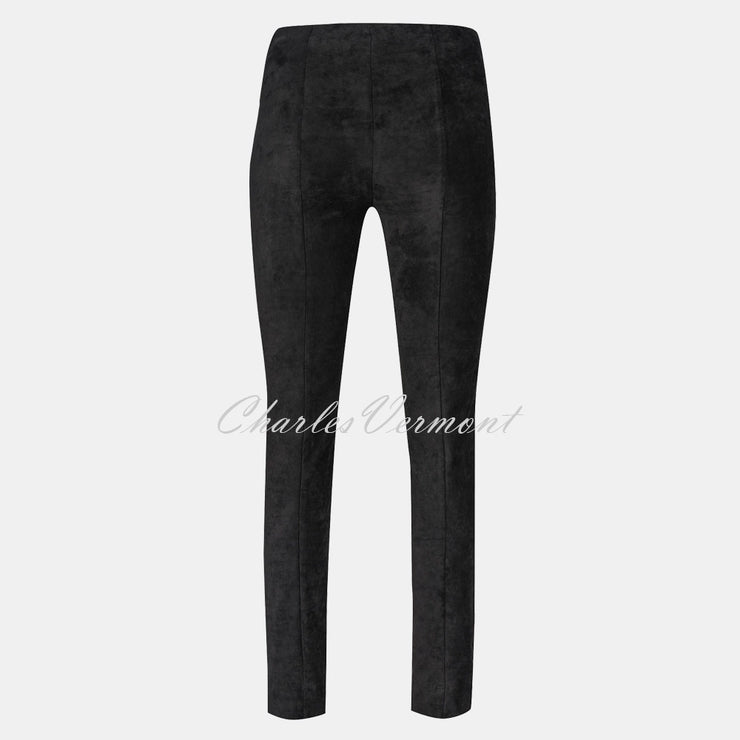 Robell Rose Full Length Super Slim-Leg Trouser 51673-54451-90 (Black Faux Suede)