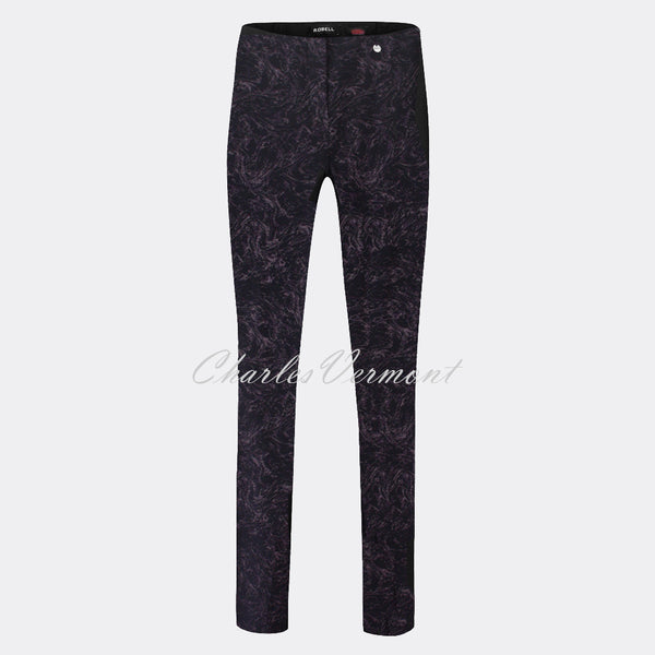 Robell Rose Full Length Super-Slim Trouser 51673-54593-90 (Black/Purple Marble Jacquard)