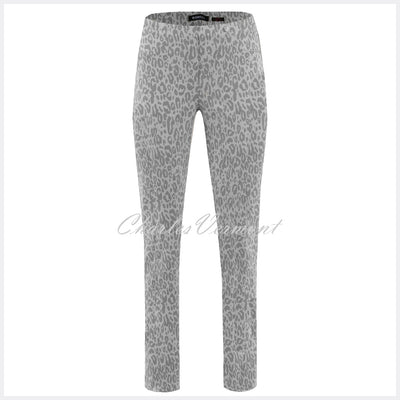 Robell Bella Full Length Animal Print Trouser 51690-54833-95 (Dark Grey / Light Grey)