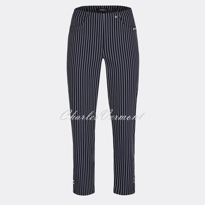 Robell Bella 09 - 7/8 Cropped Trouser 52483-54567-69 (Navy & White)