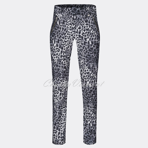 Robell Nena - Full Length Trouser 52545-54762-95 (Grey Animal Print)