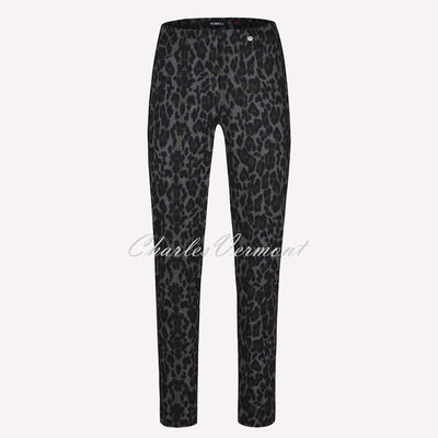 Robell Bella Full Length Trouser 52564-54948-99 Leopard Print (Black / Grey)