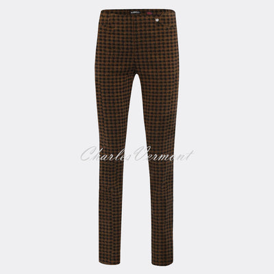 Robell Rose Full Length Trouser 52624-54014-17 Houndstooth (Taupe / Black)