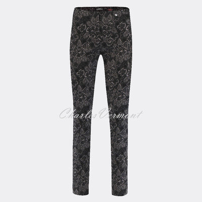Robell Rose Full Length Trouser 52624-54955-95 Floral Jacquard (Grey / Black)