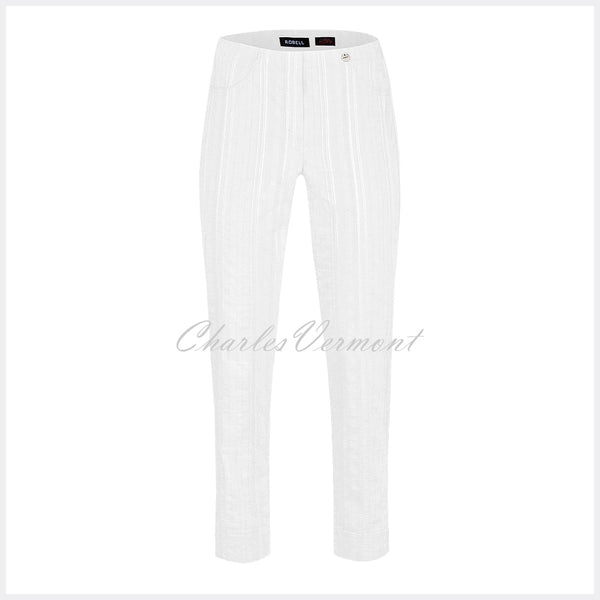 Robell Bella 09 Seersucker - 7/8 Cropped Trouser 52642-54554-10 (White)