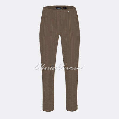 Robell Bella 09 Seersucker - 7/8 Cropped Trouser 52642-54554-18 (Taupe)