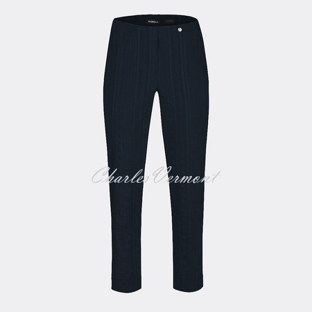 Robell Bella 09 Seersucker - 7/8 Cropped Trouser 52642-54554-69 (Navy)