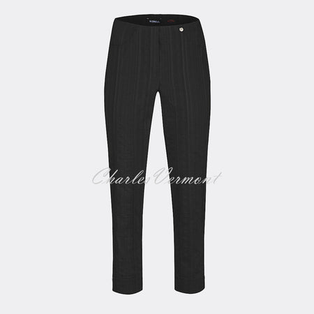 Robell Bella 09 Seersucker - 7/8 Cropped Trouser 52642-54554-90 (Black)