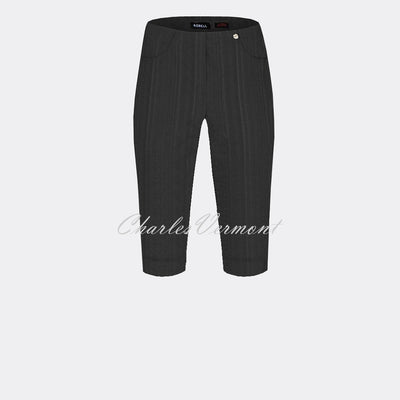 Robell Bella 05 Seersucker Bermuda Short 52643-54554-90 (Black)
