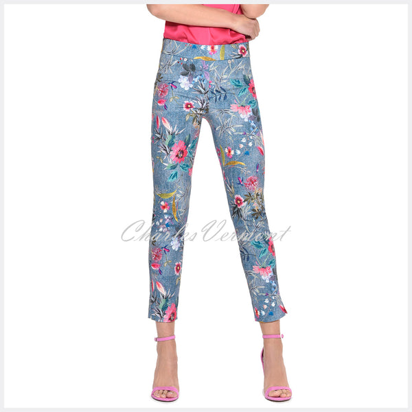 Robell Rose 09 - 7/8 Cropped Super Slim Trouser 52660-54686-62 (Blue/Multi)