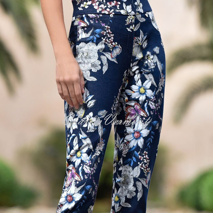 Robell Rose 09 – 7/8 Cropped Floral Print Jean 52660-54843-69 (Navy / Multi)