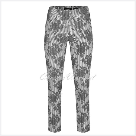 Robell Rose 09 - 7/8 Cropped Trouser 52664-54569-62 (Jacquard Floral Print)