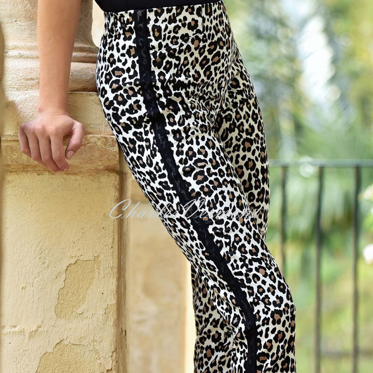 Robell Rose Full Length Animal Print Trouser 52697-54839-19 (Beige / Black)
