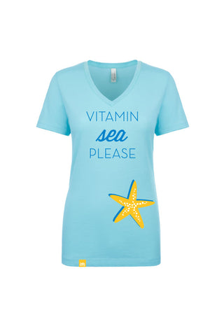 Women's Aqua V-Neck T-Shirt