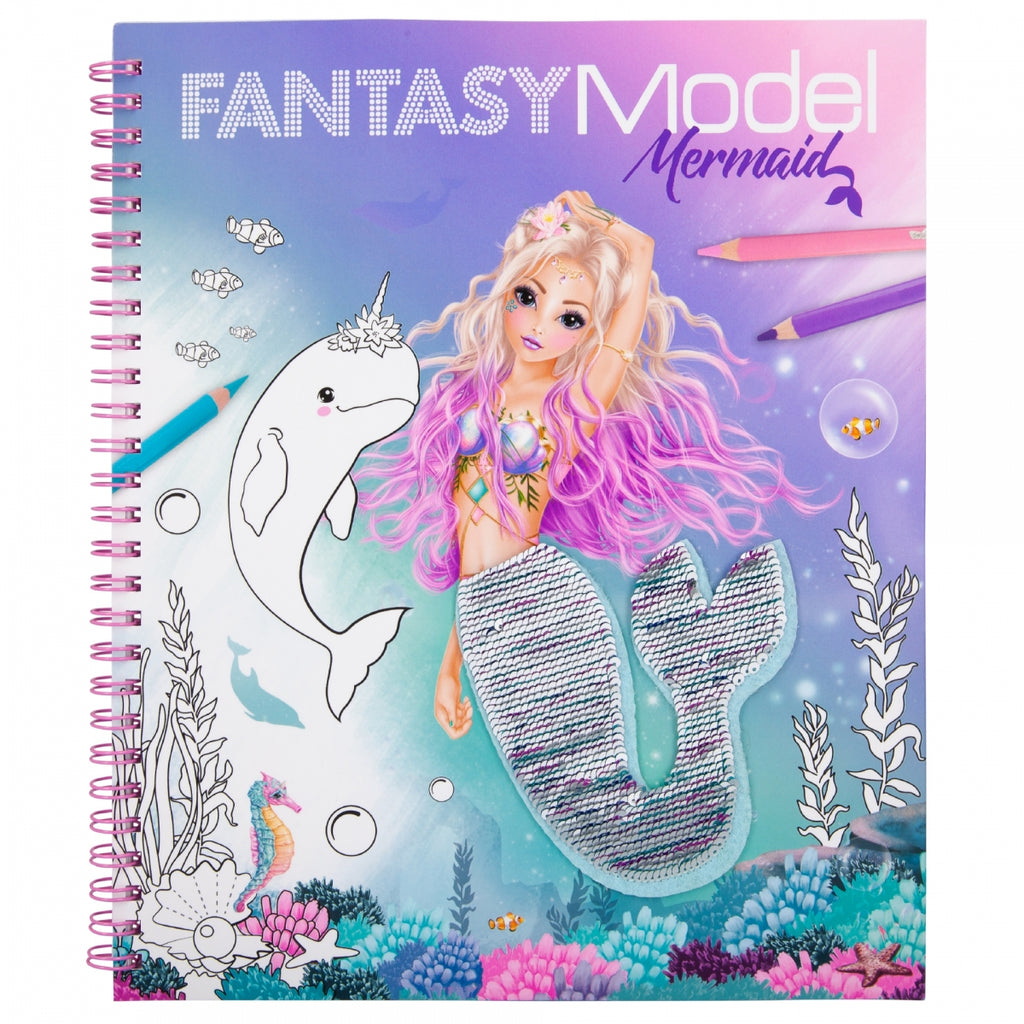 TOPModel Fantasy Model Colouring Book With Reversible Sequins MERMAID