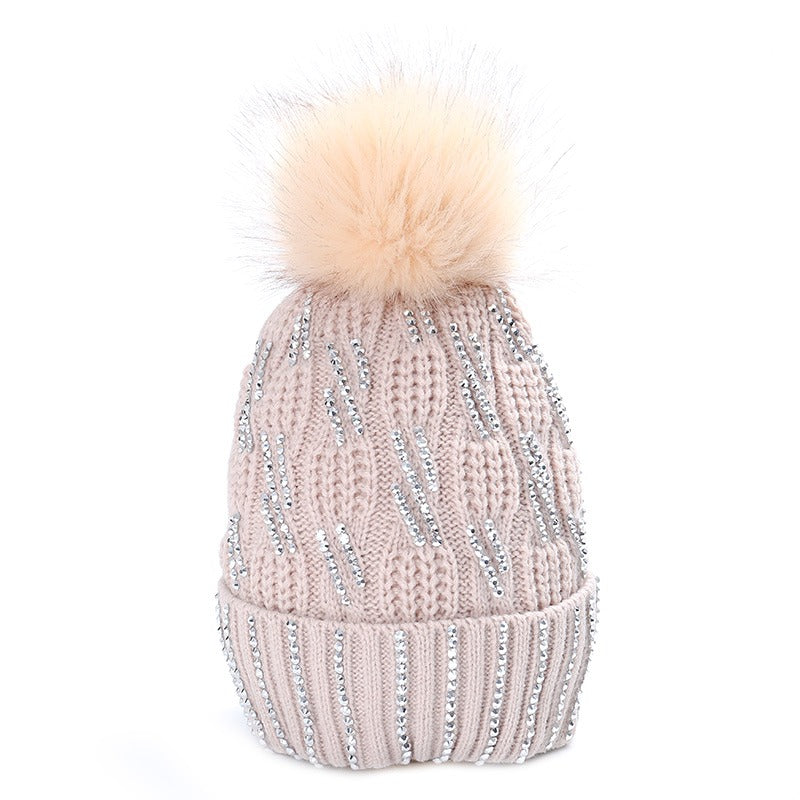 Diamante Faux Fur Bobble Hat Light Oat