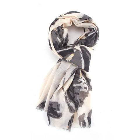 Golden Flowers Print Scarf