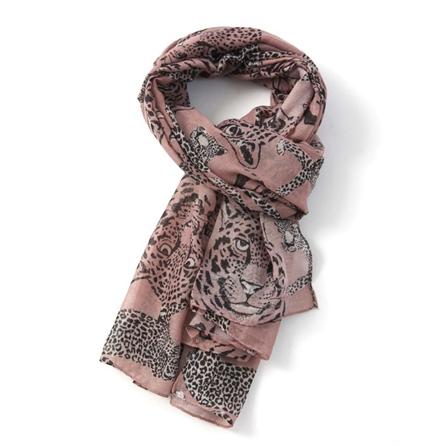 Leopard Print Scarf in Blush
