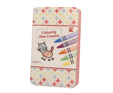 Pack of 36 Colouring Wax Crayons Tin