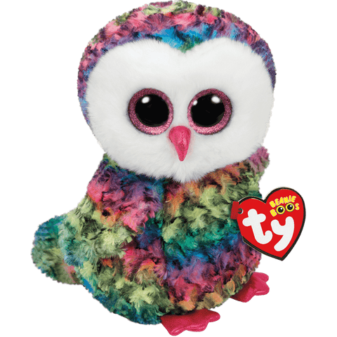 Owen Multicoloured Owl Beanie Boo TY Medium