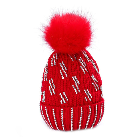 Diamante Faux Fur Bobble Hat Red