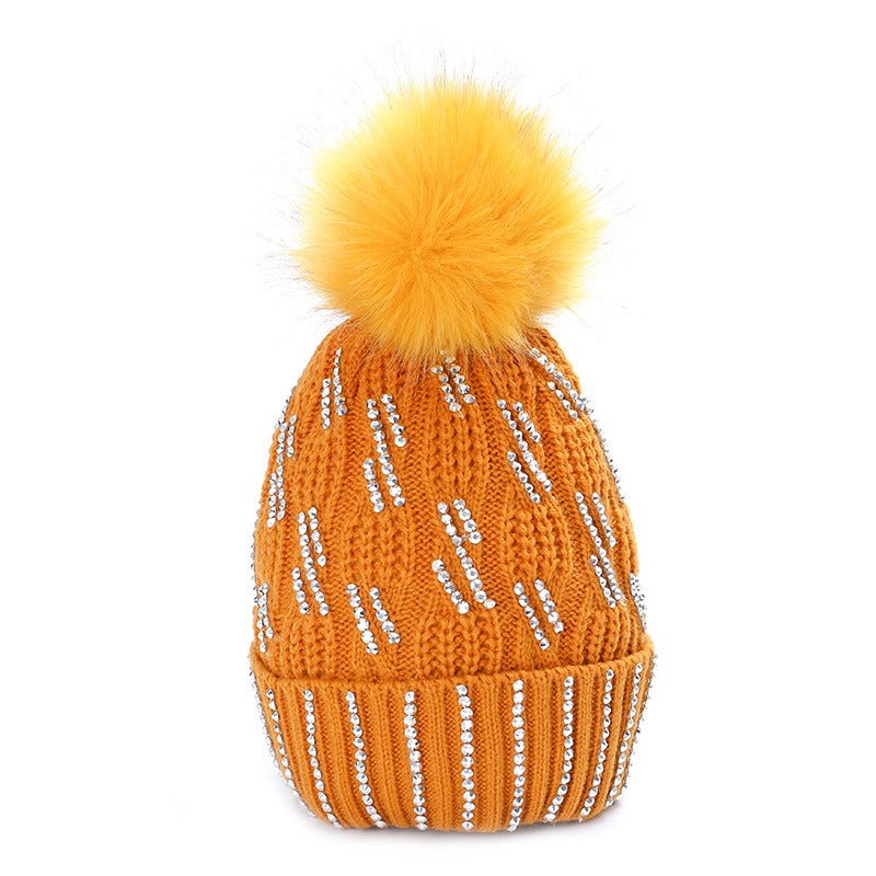 Diamante Faux Fur Bobble Hat Mustard