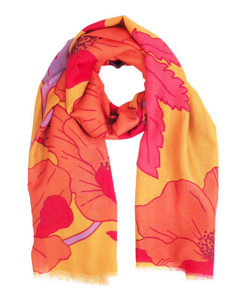Powder Printed Poppy Scarf in Yellow SS21