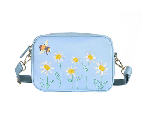 Bee and Daisy Embroidery Crossbody Bag