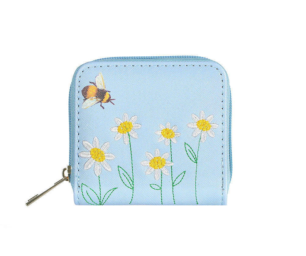 Bee and Daisy Embroidery Purse